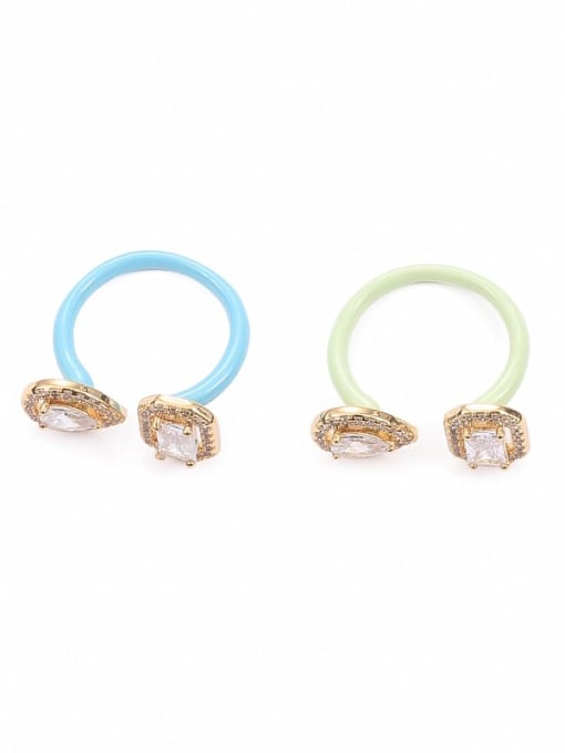 Five Color Zinc Alloy Enamel Glass Stone Geometric Minimalist Band Ring
