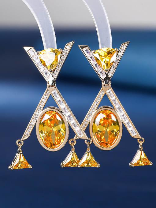 yellow Brass Cubic Zirconia Geometric Minimalist Drop Earring