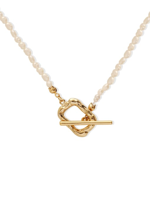 HYACINTH Brass Imitation Pearl Locket Minimalist Necklace 3