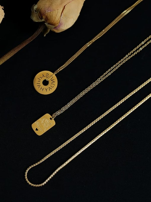 Five Color Titanium Steel Locket Minimalist Geometric  Pendant Necklace