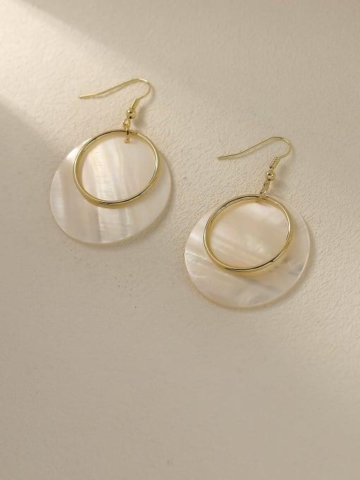 14k Gold Brass Shell Geometric Minimalist Drop Trend Korean Fashion Earring