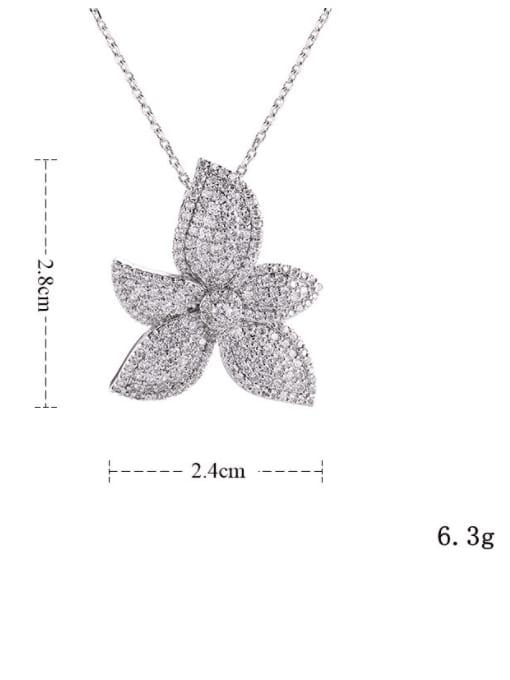 YILLIN Brass Cubic Zirconia Flower Luxury Necklace 3