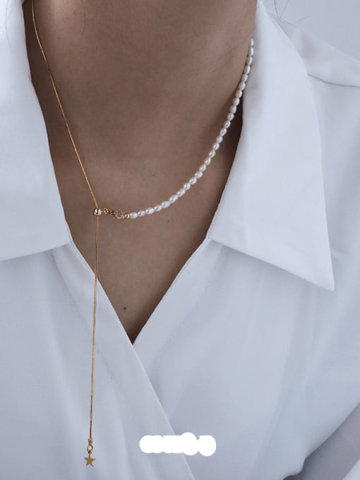 Five Color Brass Freshwater Pearl Geometric Minimalist Lariat Necklace 0