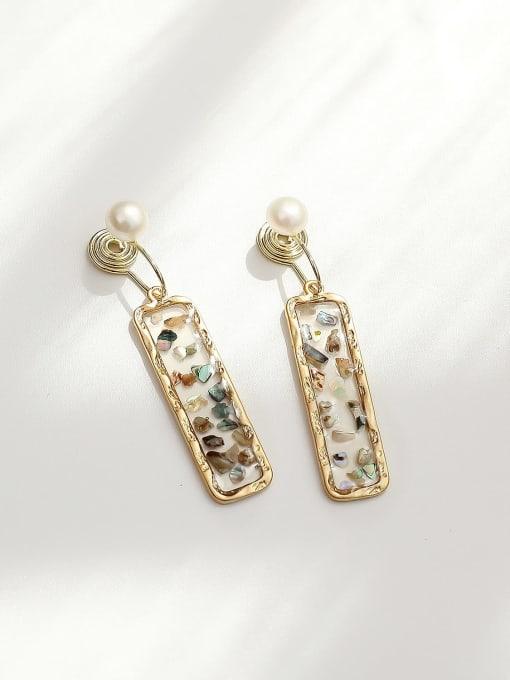 Dumb gold grey Brass Geometric Minimalist Drop Earring