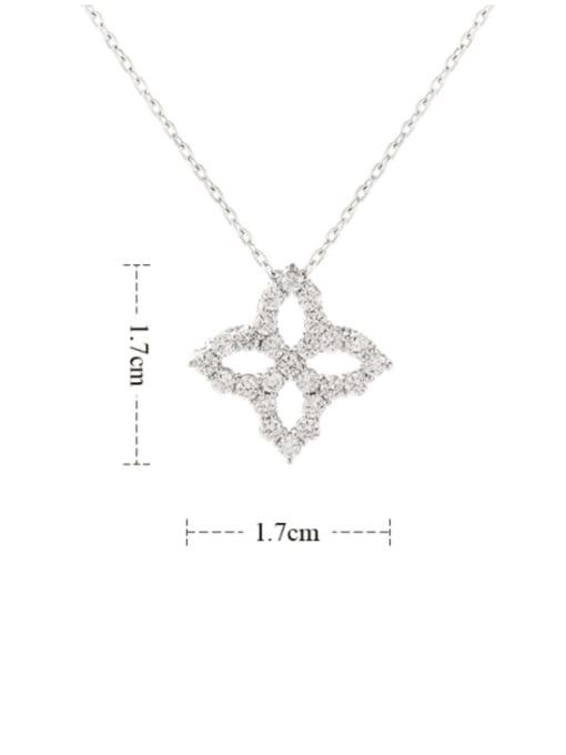 YILLIN Brass Cubic Zirconia Minimalist Clover  Pendant Necklace 3