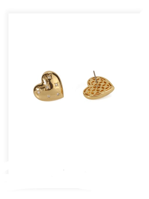 ACCA Brass Rhinestone Heart Minimalist Stud Earring 0
