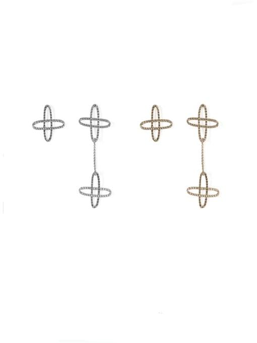 ACCA Brass  Vintage Asymmetric star Drop Earring 1