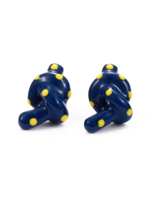Blue Earrings Brass Enamel  knot Minimalist Stud Earring