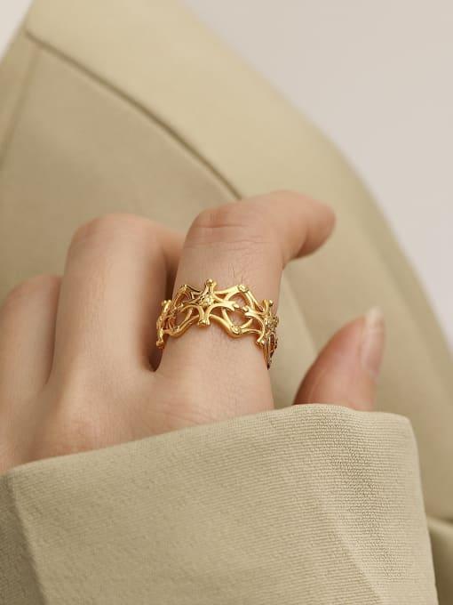 HYACINTH Brass Hollow  Flower Minimalist Band Ring 1