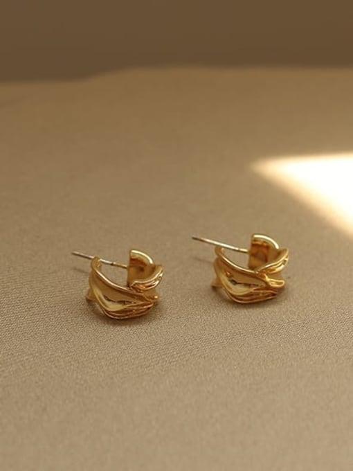 ACCA Brass Irregular Vintage Stud Earring 3