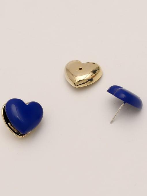 HYACINTH Brass Enamel Heart Minimalist Stud Earring 4