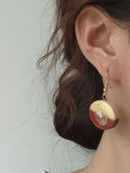 Five Color Alloy Wood Round Cute Hook Earring 1