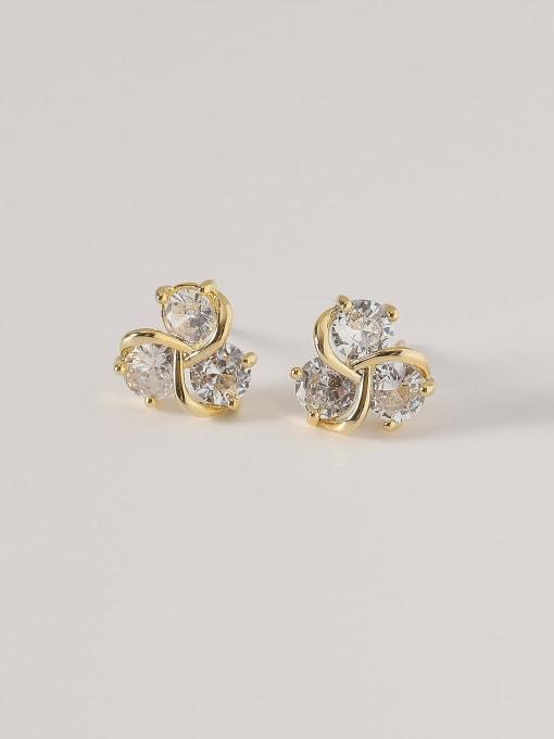 14k Gold Brass Cubic Zirconia Flower Cute Stud Earring