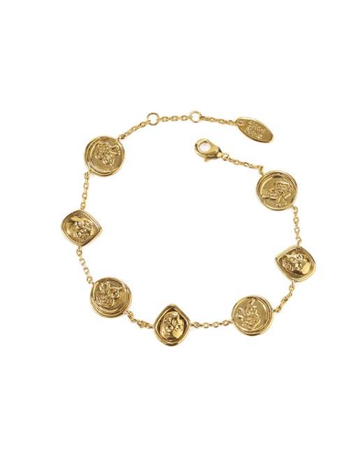 golden Brass Skull Vintage Bracelet