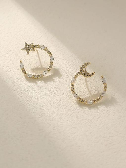 HYACINTH Brass Cubic Zirconia Star Vintage Stud Trend Korean Fashion Earring 0