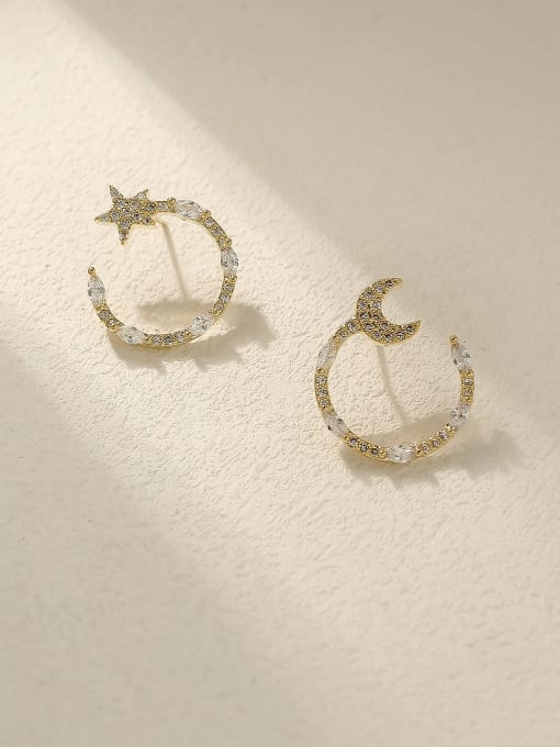 HYACINTH Brass Cubic Zirconia Star Vintage Stud Trend Korean Fashion Earring