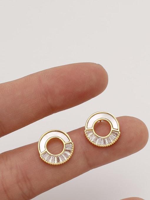 HYACINTH Brass Shell Geometric Minimalist Stud Earring 4