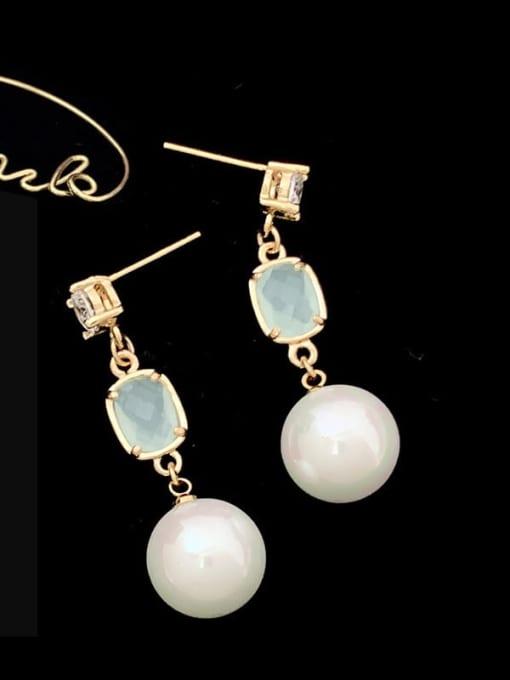 SUUTO Brass Imitation Pearl Geometric Trend Drop Earring 1