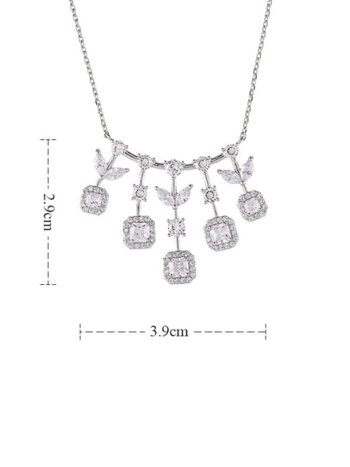 YILLIN Brass Cubic Zirconia Geometric Statement Necklace 3