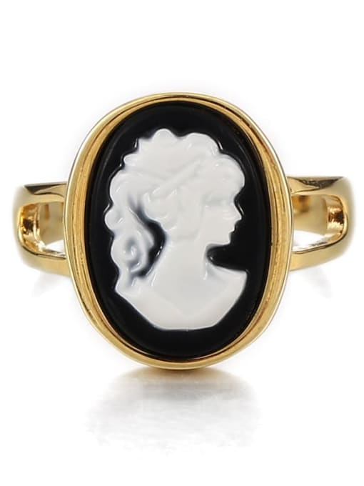 Black and white ring Brass Acrylic Geometric Vintage  Portrait Band Ring