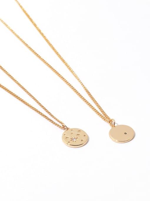 Zircon Necklace Brass Star Minimalist Hollow Round Pendant Necklace