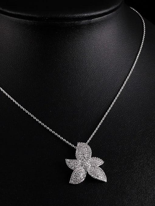 YILLIN Brass Cubic Zirconia Flower Luxury Necklace 1