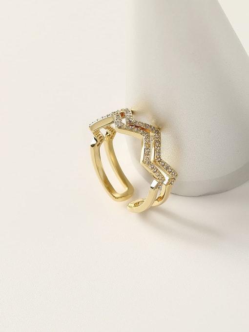 HYACINTH Brass Cubic Zirconia Geometric Minimalist Stackable Ring 2