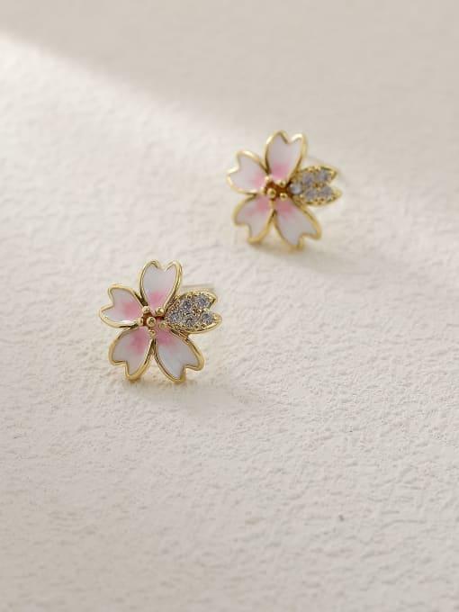 HYACINTH Brass Enamel Heart Flower Cute Stud Trend Korean Fashion Earring 2