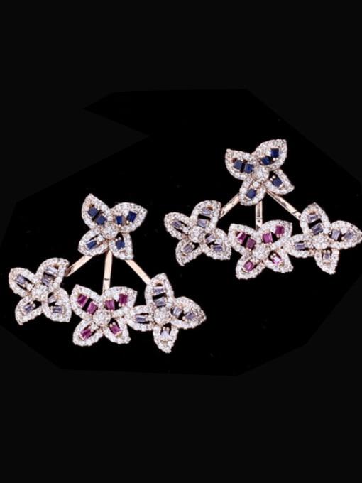 YYK Brass Cubic Zirconia Flower Trend Stud Earring