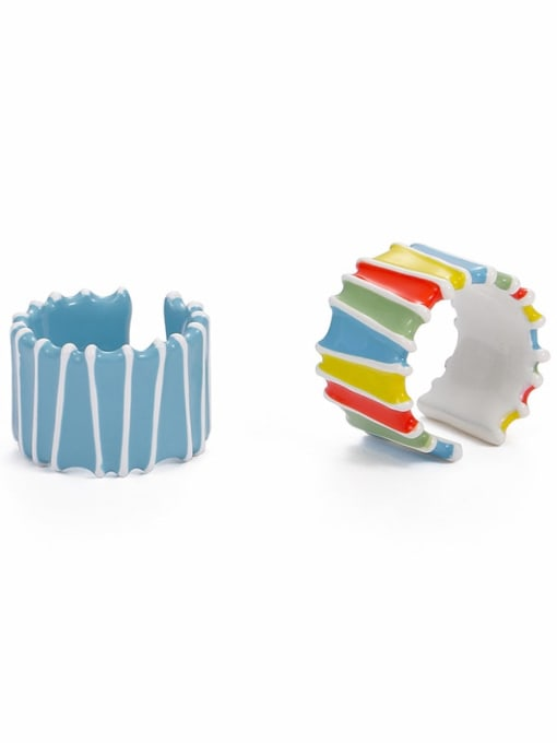 Five Color Zinc Alloy Enamel Rainbow Minimalist Band Ring 0