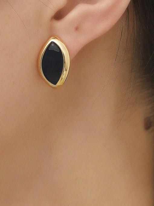 HYACINTH Brass Acrylic Geometric Vintage Stud Earring 1