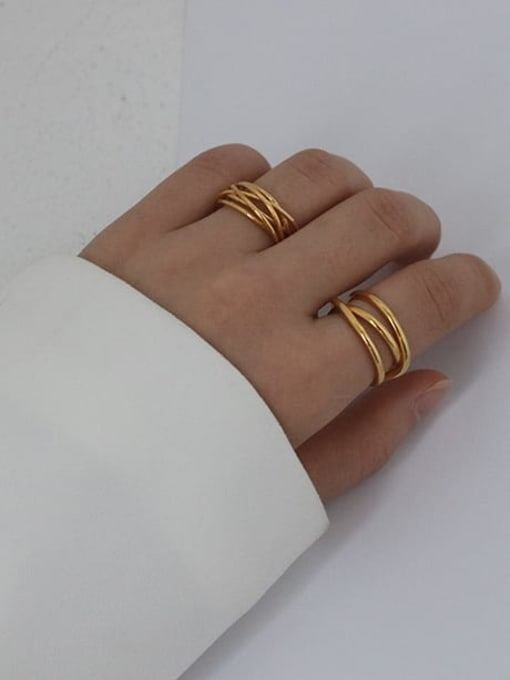 Five Color Brass Geometric Minimalist Stackable Ring 2