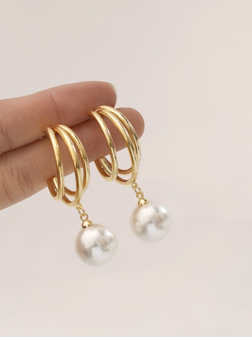 HYACINTH Brass Imitation Pearl Geometric Ethnic Stud Earring 1
