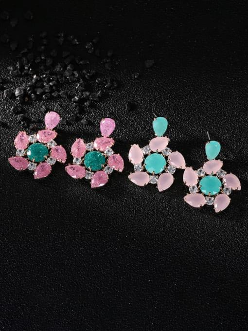 OUOU Brass Opal Flower Luxury Drop Earring 1