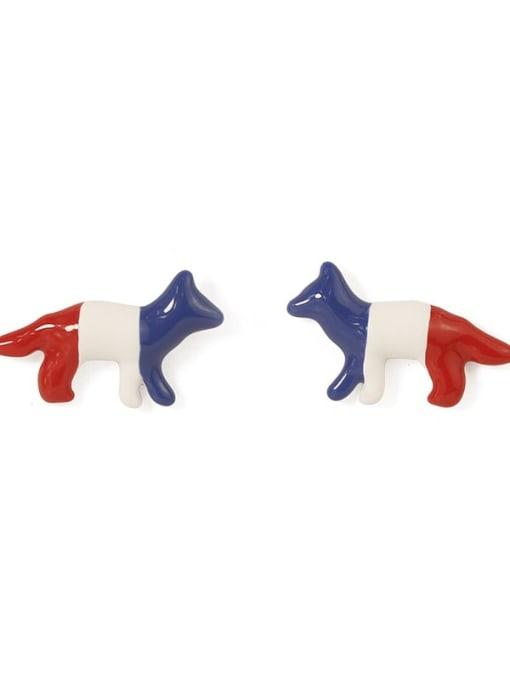 Five Color Alloy Enamel Dog Cute Stud Earring 3