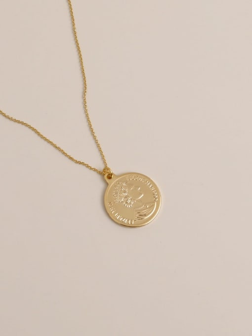 14k gold Brass Geometric Vintage  Portrait Drop Earring