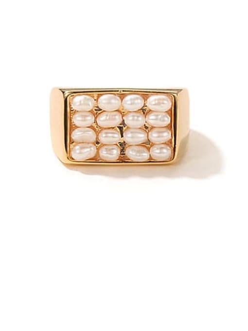 golden Brass Imitation Pearl Geometric Vintage Band Ring