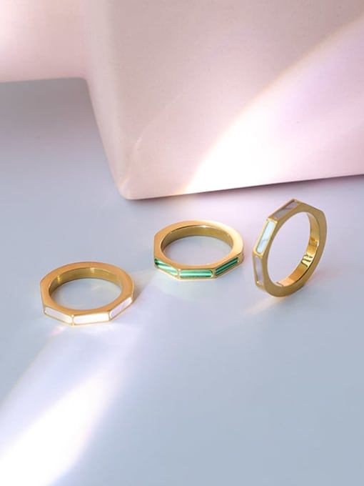 Five Color Brass shell Geometric Minimalist Band Ring 3