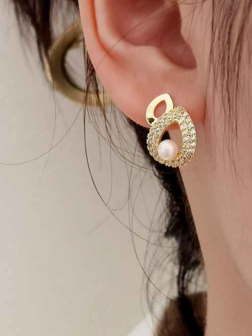 HYACINTH Brass Cubic Zirconia Water Drop Vintage Drop Earring 1
