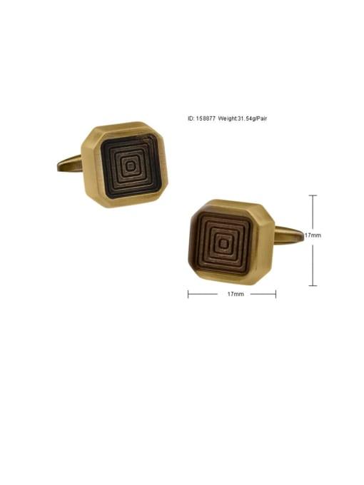 ThreeLink Brass Square Vintage Cuff Link 2