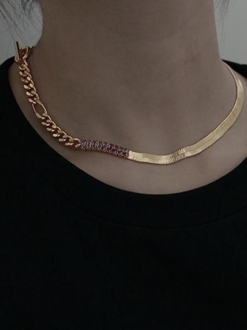 TINGS Brass Cubic Zirconia Geometric Vintage Snake Bone Chain  Necklace 2