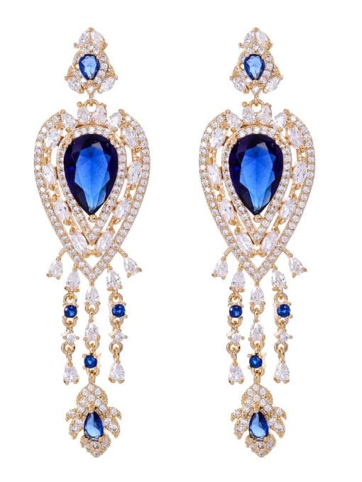 blue Brass Cubic Zirconia Tassel Luxury Drop Earring