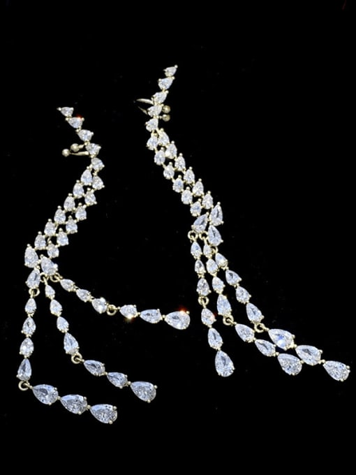 SUUTO Brass Cubic Zirconia Tassel Trend Single Earring 1