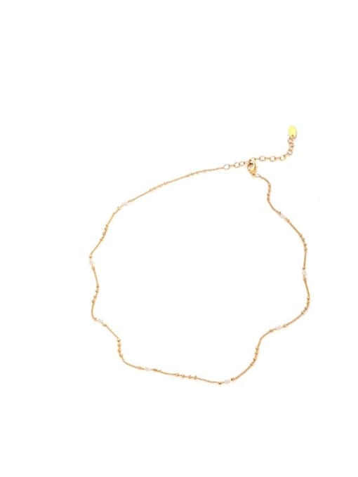 Pearl Necklace Brass Minimalist  Line Chain Necklace