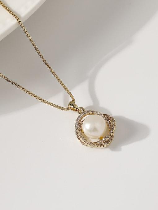 14k Gold Brass Imitation Pearl Locket Minimalist Necklace