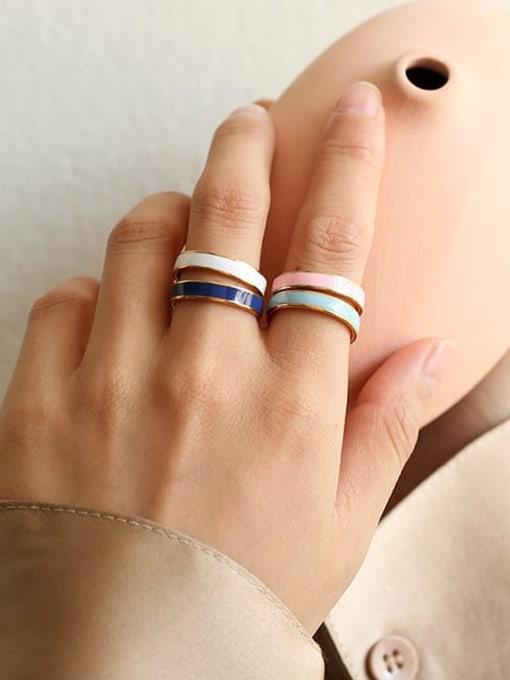 Five Color Brass Enamel Geometric Minimalist Band Ring 1