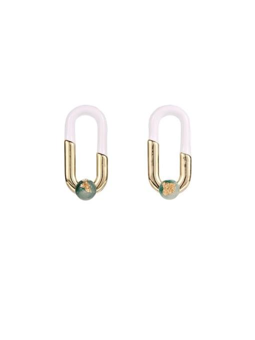 ACCA Brass Cubic Zirconia Enamel Geometric Hip Hop Stud Earring
