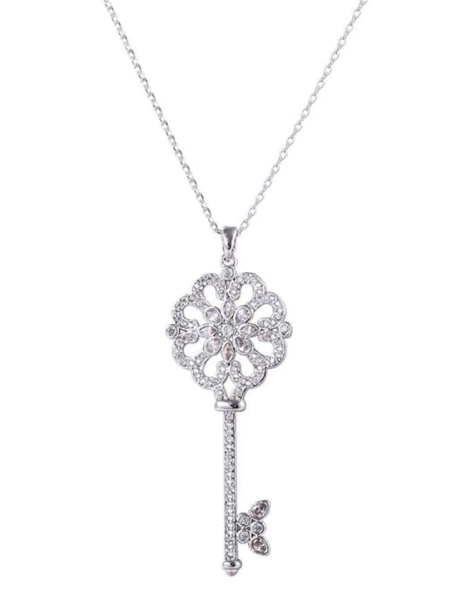 YILLIN Brass Cubic Zirconia Key Minimalist Necklace 0