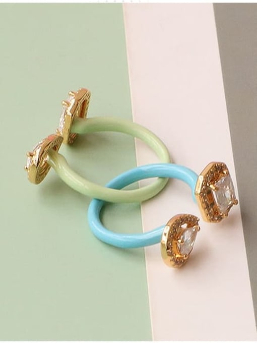 Five Color Zinc Alloy Enamel Glass Stone Geometric Minimalist Band Ring 2