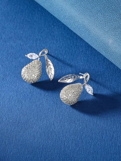 OUOU Brass Cubic Zirconia Friut Luxury Stud Earring